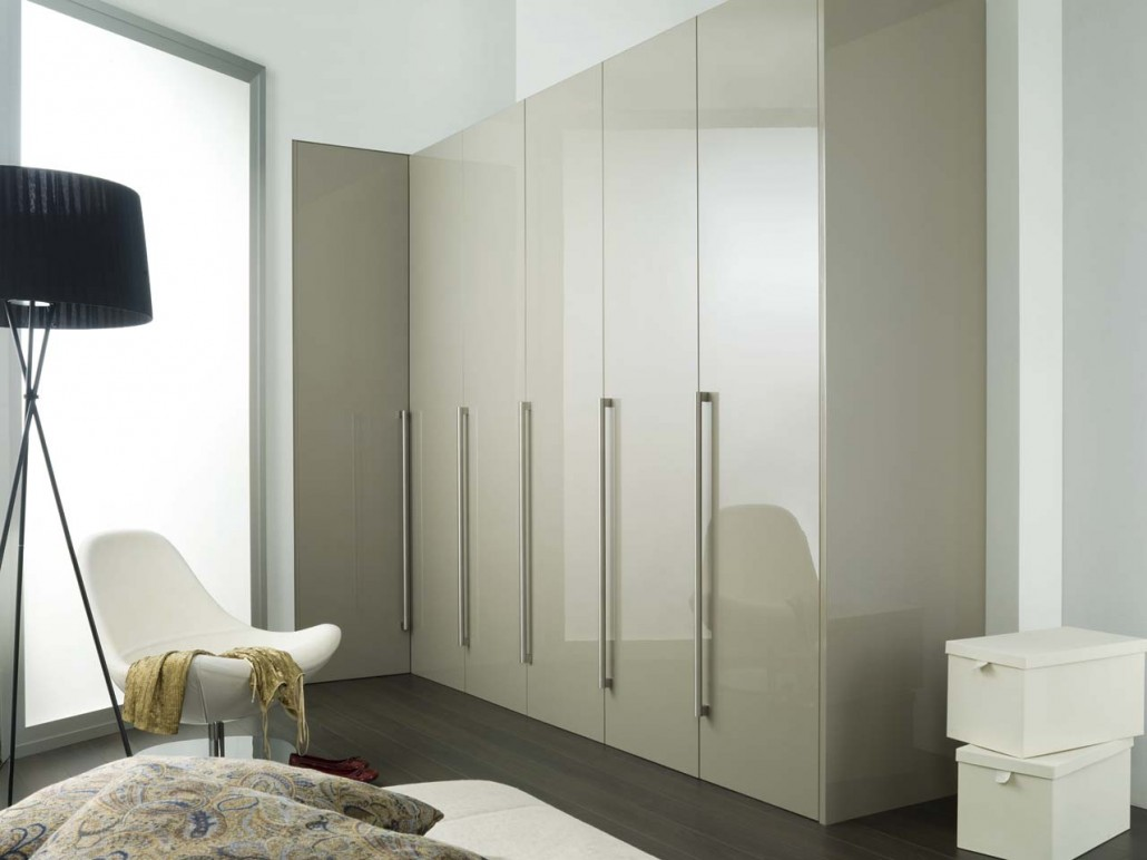 View In Gallery White And Brown Fitted Bedroom Furniture High Gloss Wardrobe Doors