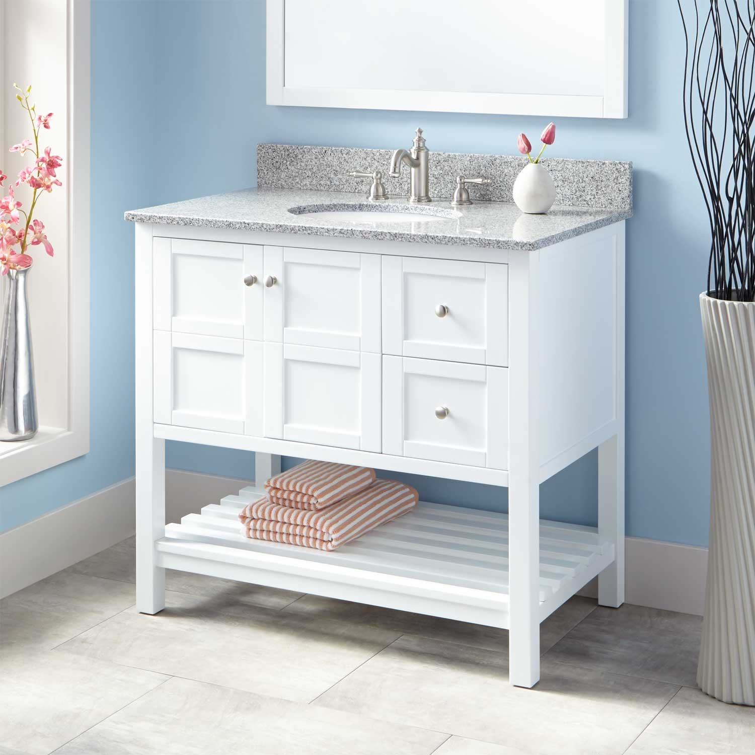 Perfect White Bathroom Vanity And Storage Cabinet Ideas