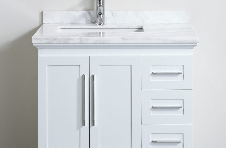 Merveilleux Contemporary 30 Inch White Finish Bathroom Vanity Marble Countertop