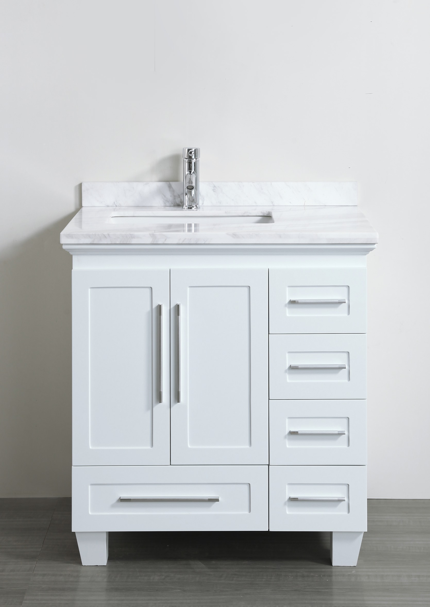 Contemporary 30 inch White Finish Bathroom Vanity Marble Countertop