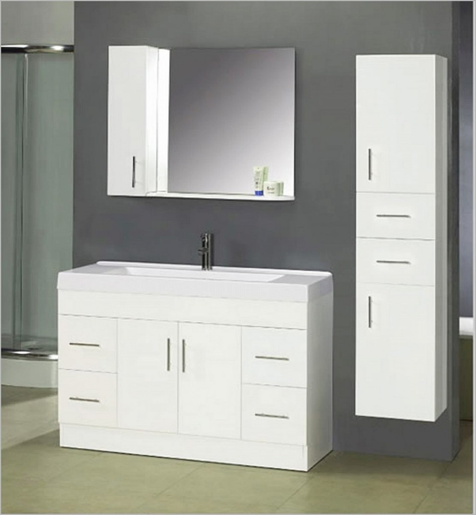Perfect White Bathroom Vanity and Storage Cabinet Ideas - HGNV.COM