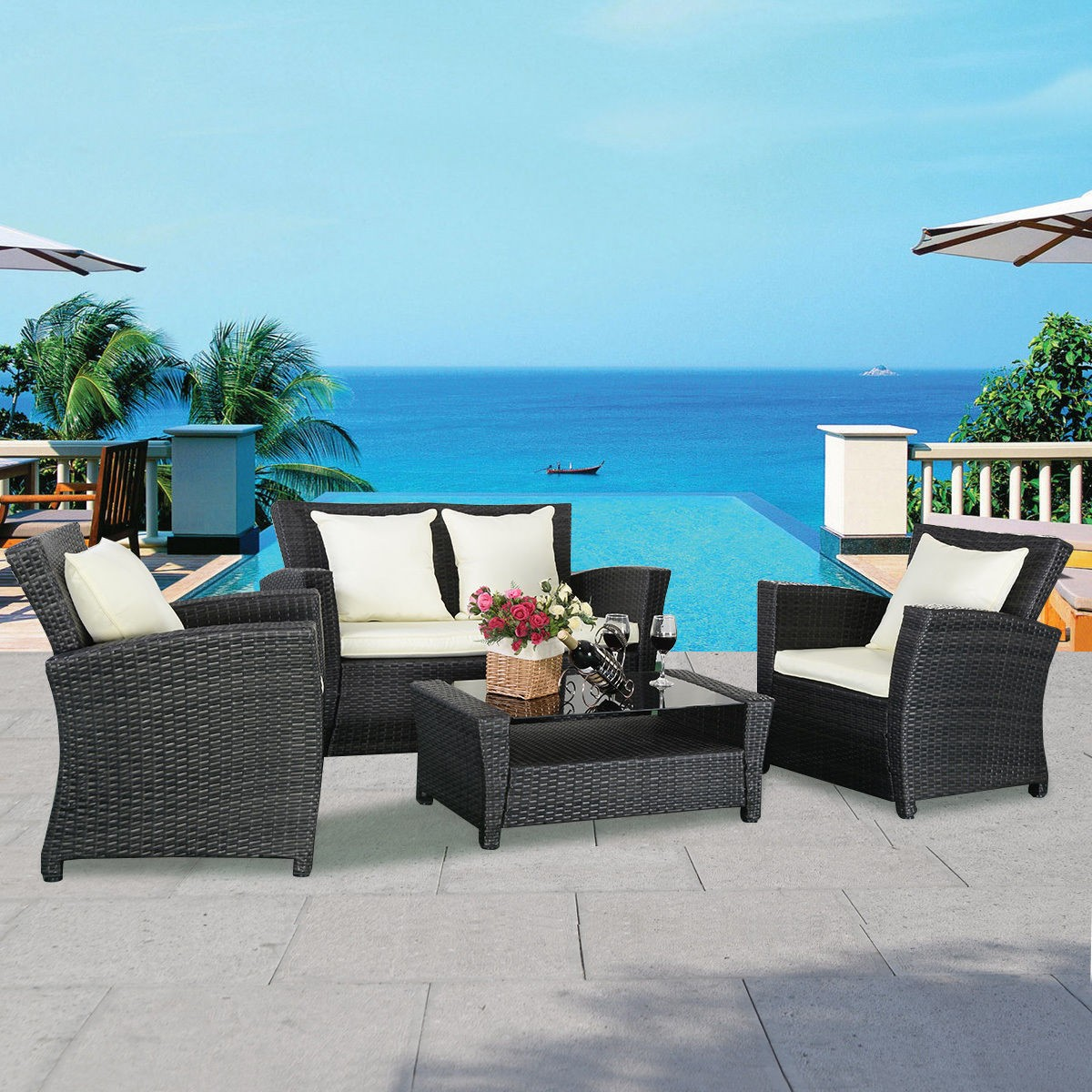view in gallery modern all weather wicker furniture set for outdoor patio - Garden Furniture 4 All