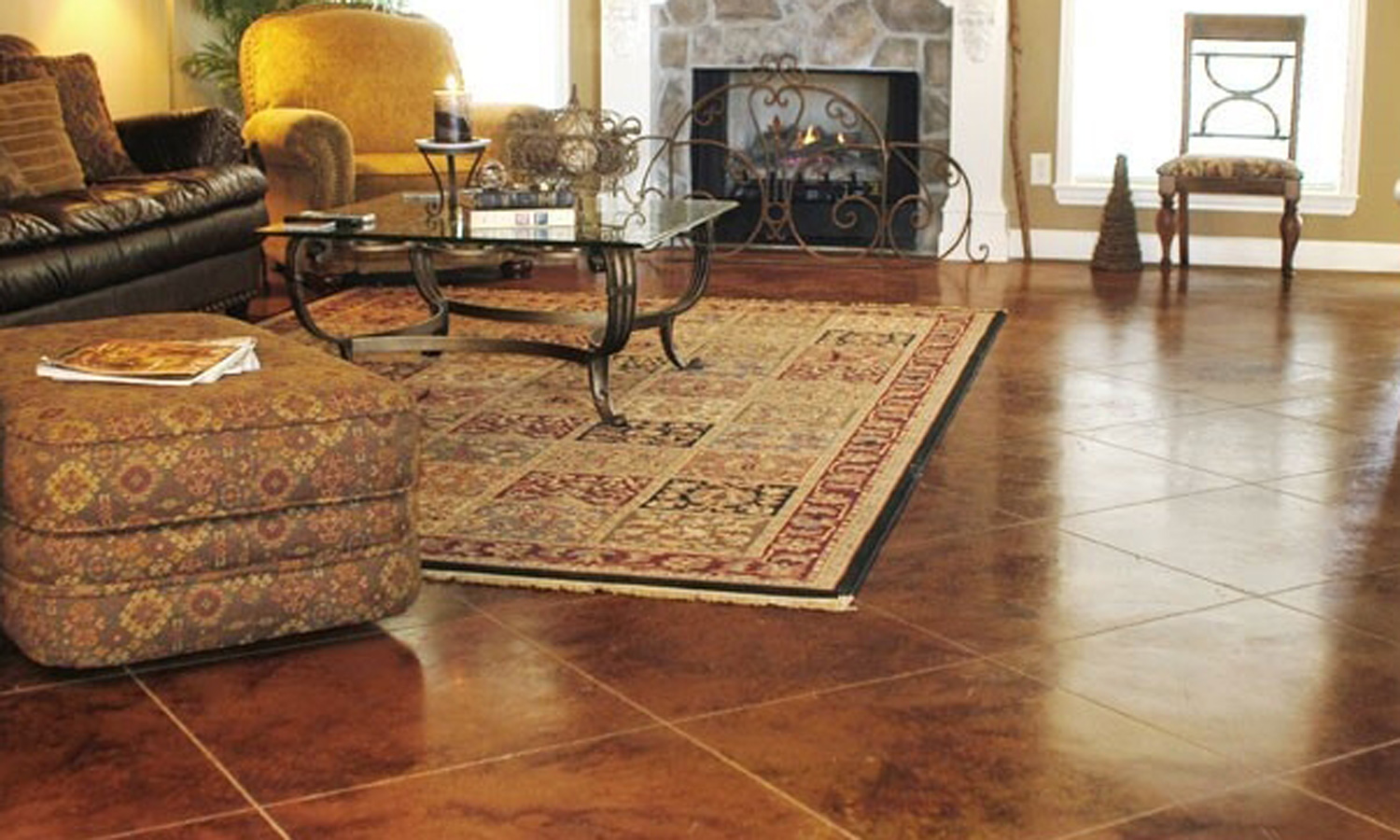 Flooring In House : Stained concrete floors for different home flooring ideas