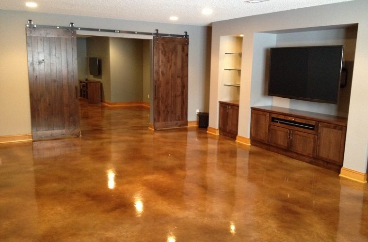 Cozy Residential Polished Concrete Floor Decorating Ideas