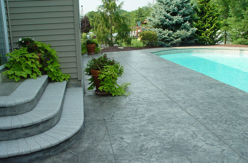 Stamped concrete patterns flooring options design stairs ideas and around small pool for patio backyard Stamped concrete patterns flooring options design designs