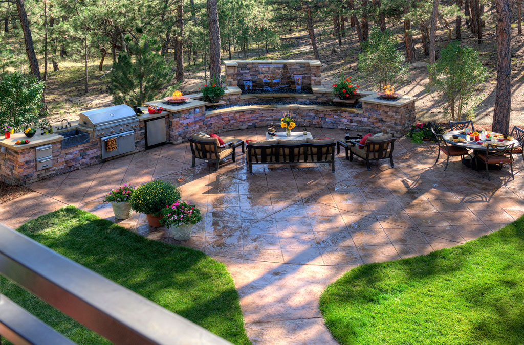 Top stamped concrete patio kansas city design ideas completed with barbecue pits designs and round wrought iron table